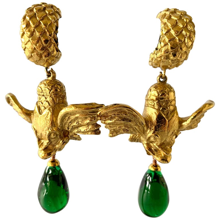 Vintage Christian Dior Mythical Fish Gilt Earrings  For Sale