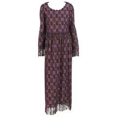 Vintage Christian Dior New York Fringe Trim Maxi Dress 1960s