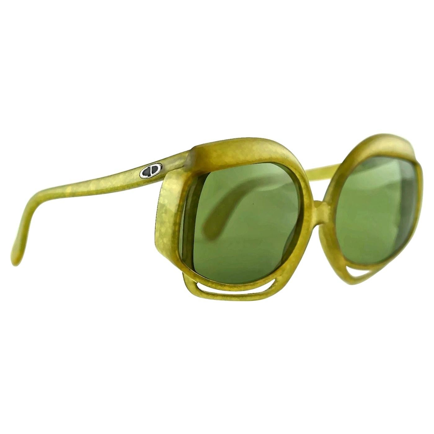 Vintage CHRISTIAN DIOR Openwork Space Age Green Oversized Sunglasses
