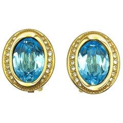 Vintage Christian Dior Oval Aqua Crystal Earrings 1980s