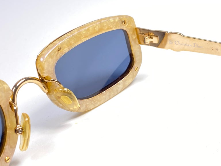 Women's or Men's Vintage Christian Dior Oval Gold Small Grey Optyl Sunglasses 1990 For Sale