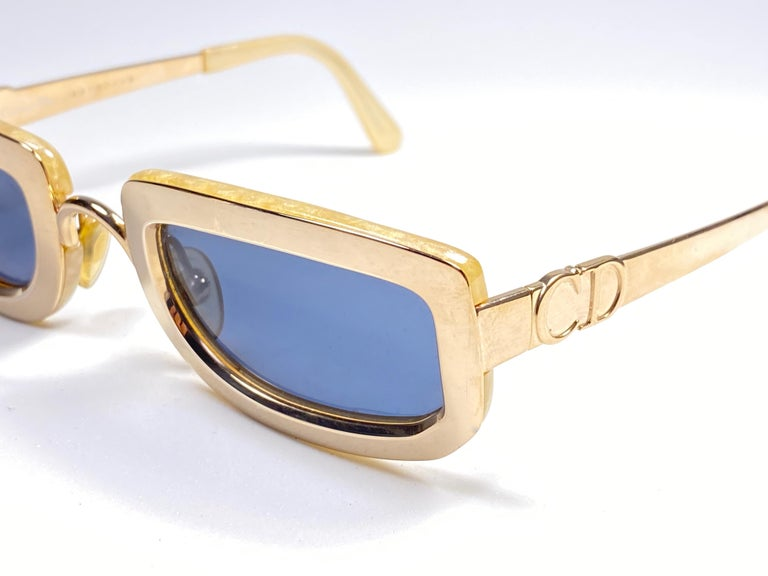 Vintage Christian Dior Oval Gold Small Grey Optyl Sunglasses 1990 For Sale 1