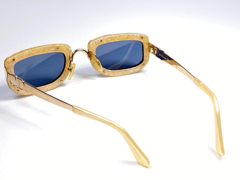 Vintage Christian Dior Oval Gold Small Grey Optyl Sunglasses 1990 For Sale 2