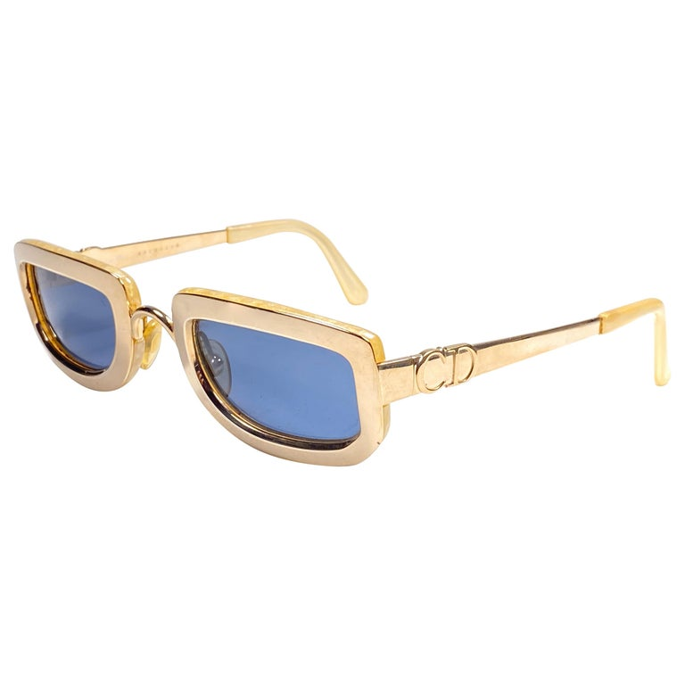 Vintage Christian Dior Oval Gold Small Grey Optyl Sunglasses 1990 For Sale