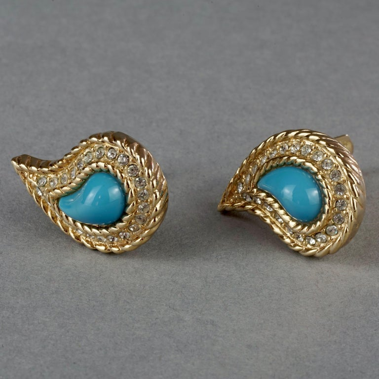 Women's Vintage CHRISTIAN DIOR Paisley Turquoise Cabochon Rhinestone Earrings For Sale