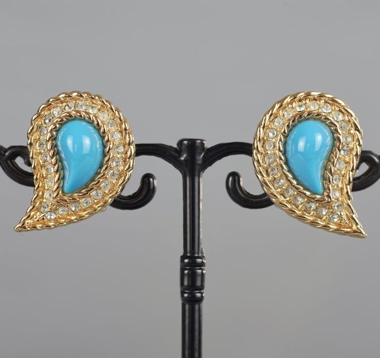 Vintage CHRISTIAN DIOR Paisley Turquoise Cabochon Rhinestone Earrings For Sale 1