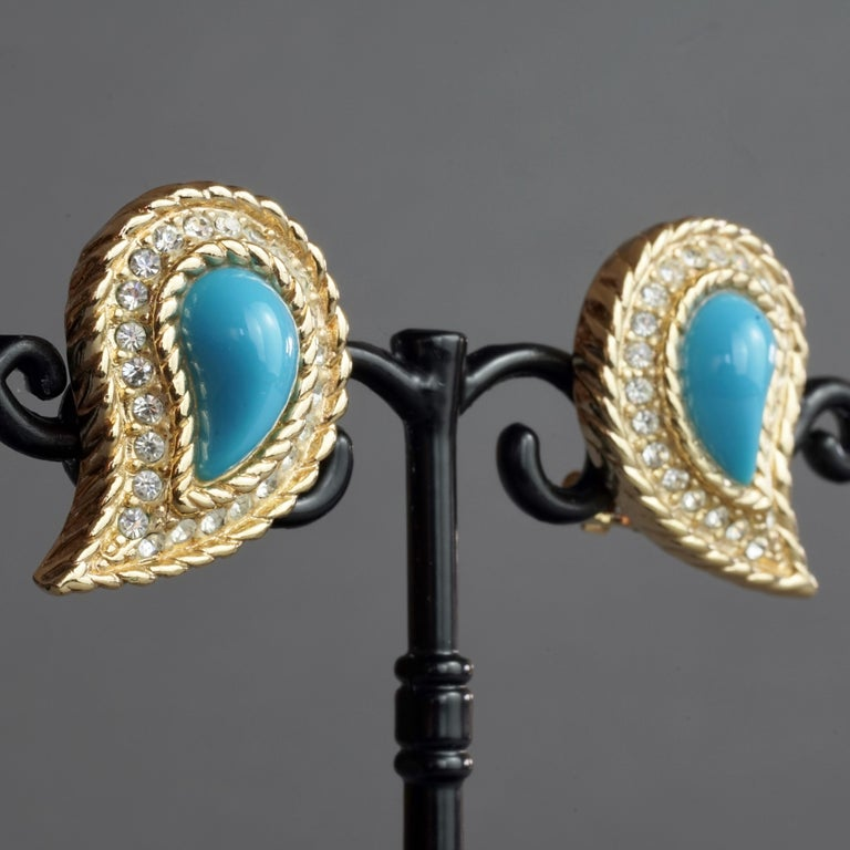 Vintage CHRISTIAN DIOR Paisley Turquoise Cabochon Rhinestone Earrings For Sale 2