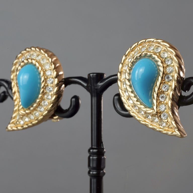 Vintage CHRISTIAN DIOR Paisley Turquoise Cabochon Rhinestone Earrings For Sale 3