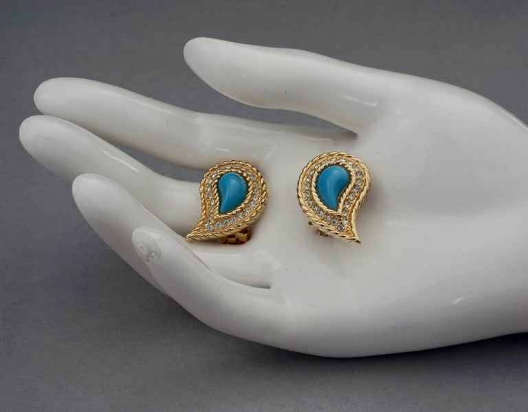 Vintage CHRISTIAN DIOR Paisley Turquoise Cabochon Rhinestone Earrings For Sale 4