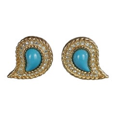 Vintage CHRISTIAN DIOR Paisley Turquoise Cabochon Rhinestone Earrings