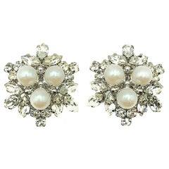 Vintage Christian Dior Pearl & Crystal Star Earrings 1966