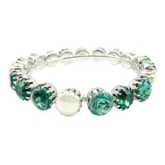 Vintage Christian Dior Pearl & Emerald Glass Bangle 1960S