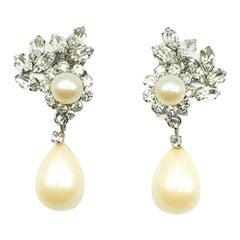 Vintage Christian Dior Pearl & Fancy Crystal Droplet Earrings 1968
