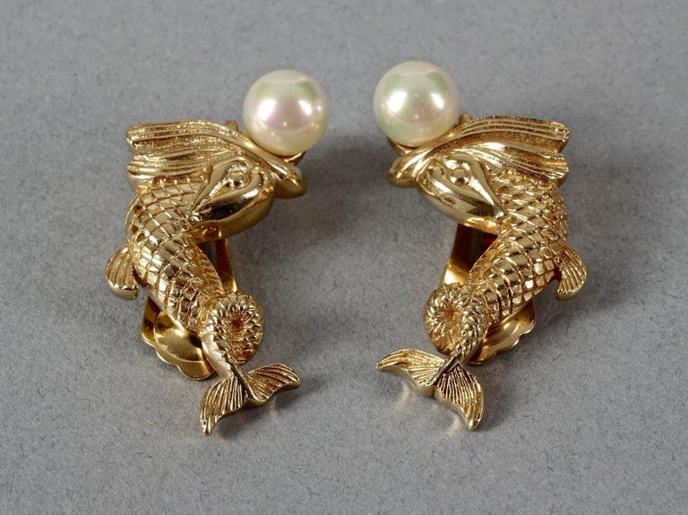 Women's Vintage CHRISTIAN DIOR Pearl Fish Earrings For Sale
