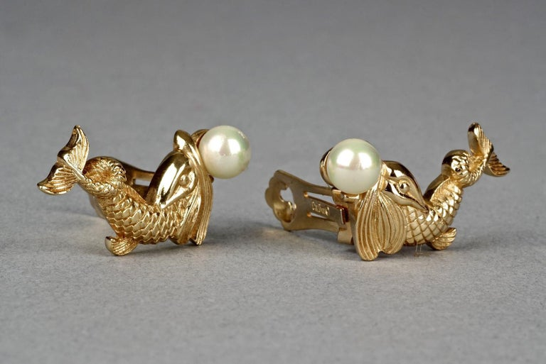 Vintage CHRISTIAN DIOR Pearl Fish Earrings For Sale 1