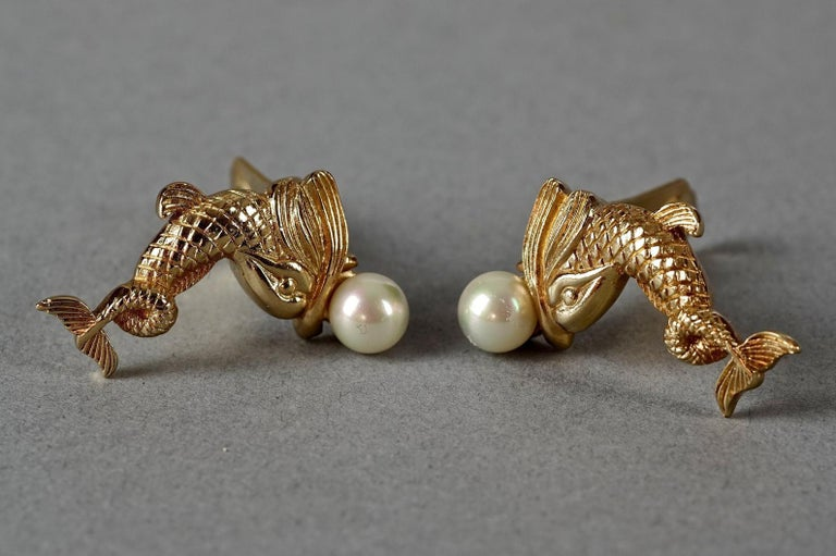 Vintage CHRISTIAN DIOR Pearl Fish Earrings For Sale 2