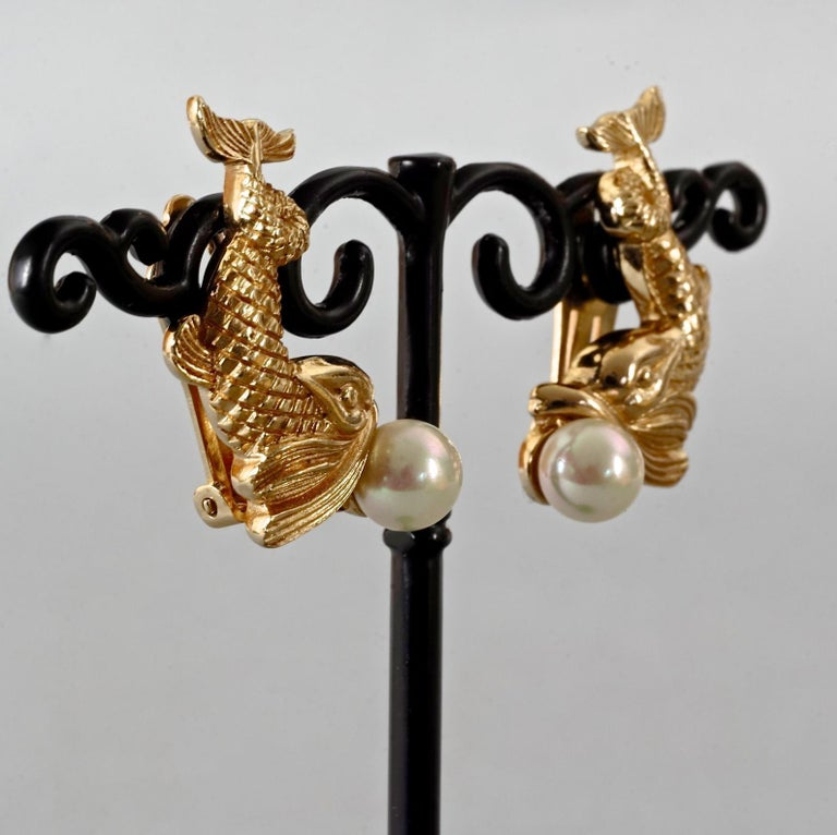 Vintage CHRISTIAN DIOR Pearl Fish Earrings For Sale 4