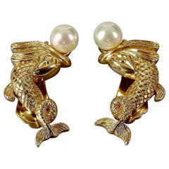 Vintage CHRISTIAN DIOR Pearl Fish Earrings