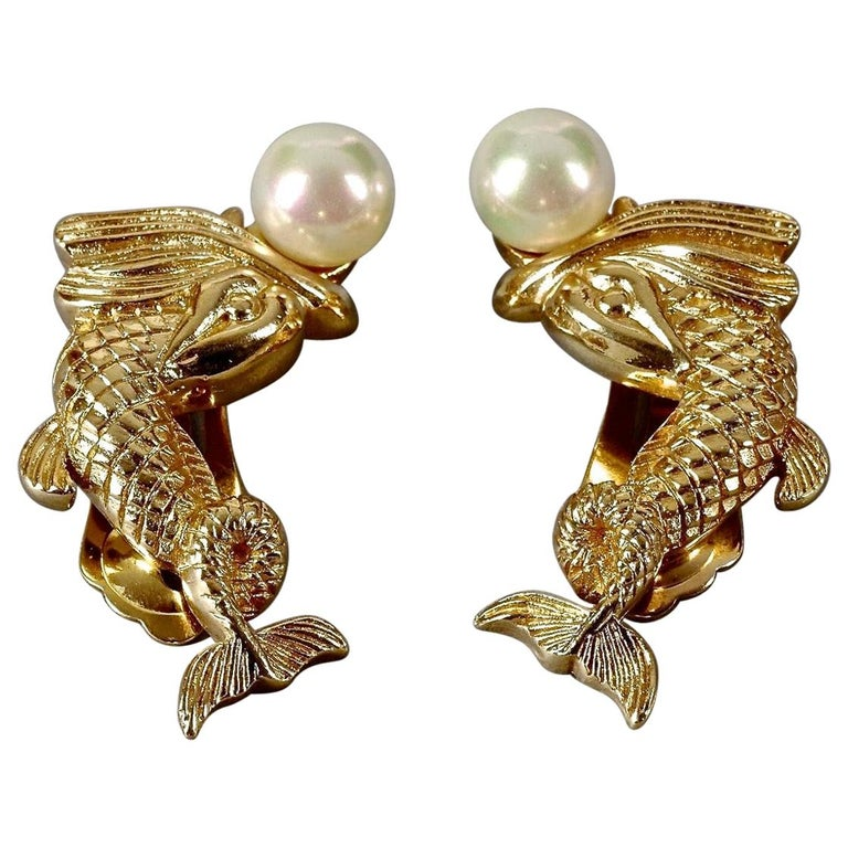 Vintage CHRISTIAN DIOR Pearl Fish Earrings For Sale