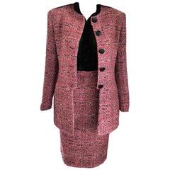 Vintage Christian Dior Pink & Black Tweed Jacket Pencil Skirt Suit FR 36/ US 4