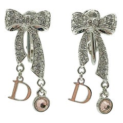 Vintage Christian Dior Pink Crystal Bow Earrings 1990s