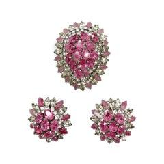 Vintage Christian Dior Pink Crystal Brooch & Earrings 1968