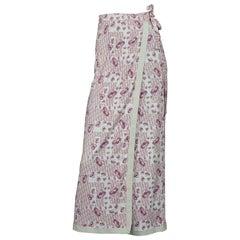 Vintage CHRISTIAN DIOR Pink Floral Logo Monogram Pareo Wraparound Skirt