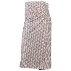 Vintage CHRISTIAN DIOR Pink Logo Monogram Flowers Pareo Wraparound Skirt