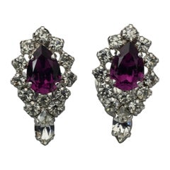Vintage CHRISTIAN DIOR Purple Amethyst Rhinestone Earrings