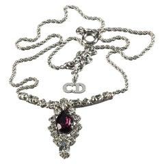 Vintage CHRISTIAN DIOR Purple Amethyst Rhinestone Necklace