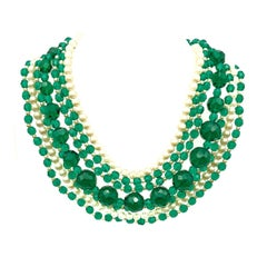 Vintage Christian Dior Rare Emerald Glass & Pearl Necklace 1958