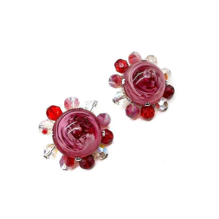 Vintage Christian Dior Raspberry Ripple Glass Earrings 1969 In Good Condition For Sale In Wilmslow, GB