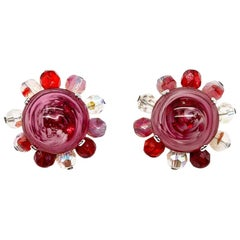 Vintage Christian Dior Raspberry Ripple Glass Earrings 1969