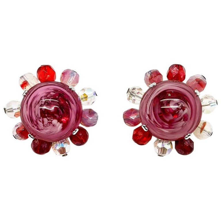 Vintage Christian Dior Raspberry Ripple Glass Earrings 1969 For Sale