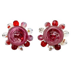Vintage Christian Dior Raspberry Ripple Glass Earrings 1969