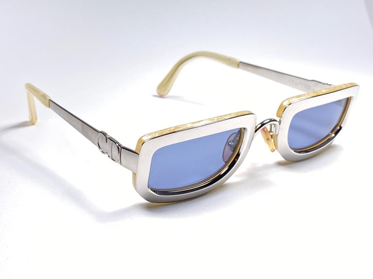Vintage Christian Dior Rectangular Silver Small Grey Optyl Sunglasses 1990 In New Condition For Sale In Amsterdam, Noord Holland