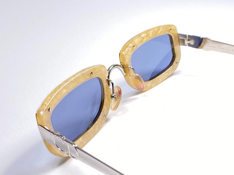 Vintage Christian Dior Rectangular Silver Small Grey Optyl Sunglasses 1990 For Sale 1