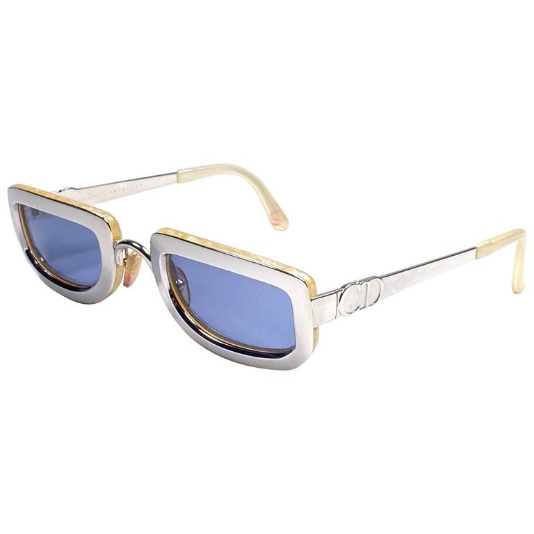 Vintage Christian Dior Rectangular Silver Small Grey Optyl Sunglasses 1990 For Sale
