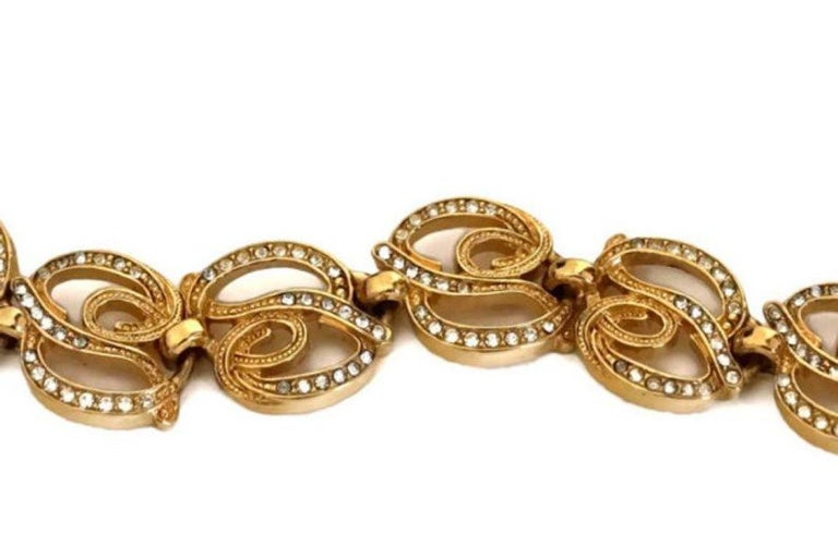 Women's Vintage CHRISTIAN DIOR Rhinestone Logo Links Necklace For Sale