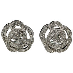 Vintage CHRISTIAN DIOR Rose Rhinestone Earrings