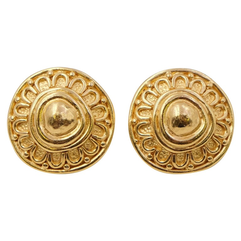 Vintage Christian Dior Round Earrings 1990s For Sale