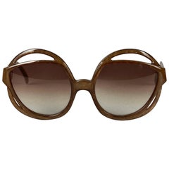 Vintage CHRISTIAN DIOR Round Openwork Space Age Brown Sunglasses