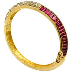 Vintage Christian Dior Ruby Crystal Bangle 1980s