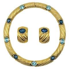 Vintage Christian Dior Sapphire & Aqua Crystal Collar & Earrings 1980s