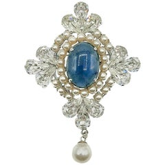 Vintage Christian Dior Sapphire Pearl & Crystal Renaissance Brooch 1962