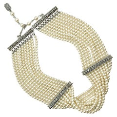 Vintage Christian Dior Seed Pearl & Crystal Choker Necklace 1990s
