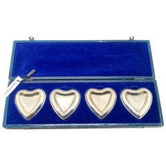 Vintage Christian Dior Set Of Four Silver Plated Heart Ring Trays Original Case