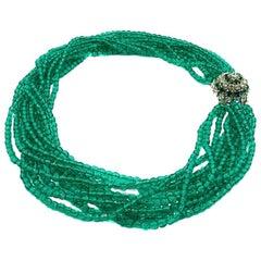 Vintage Christian Dior Silver & Emerald Green Glass Torsade Collar 1964