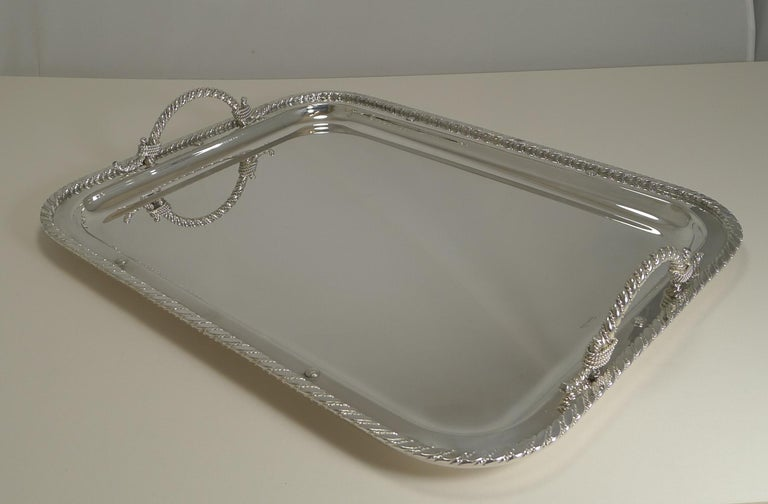 Vintage Christian Dior Silver Plated Serving Tray, circa 1970 For Sale 7