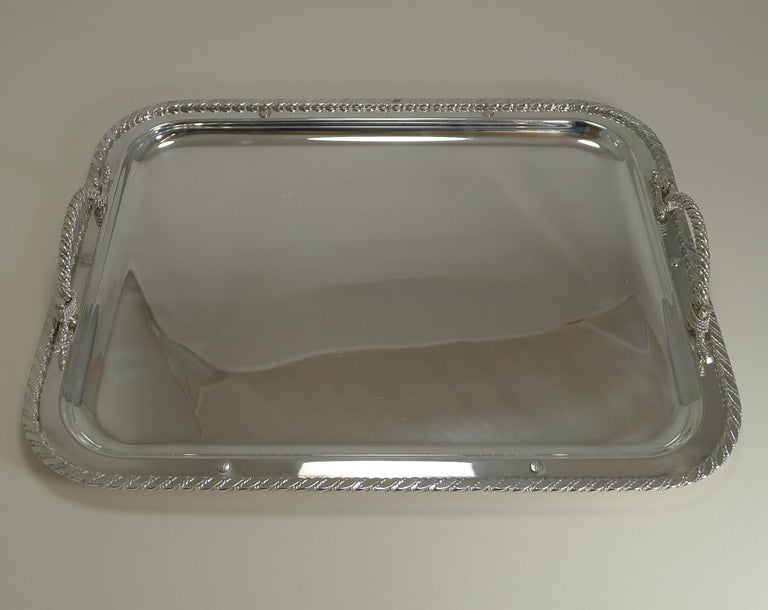 Mid-Century Modern Vintage Christian Dior Silver Plated Serving Tray, circa 1970 For Sale